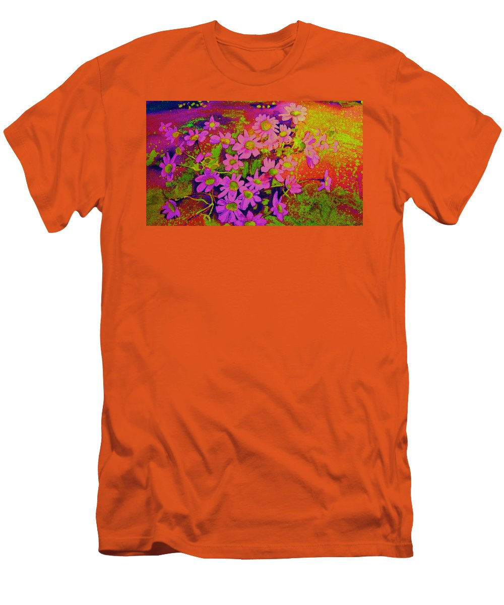 Violets Men's T-Shirt (Athletic Fit) featuring the painting Violets Among The Heather by Carole Spandau