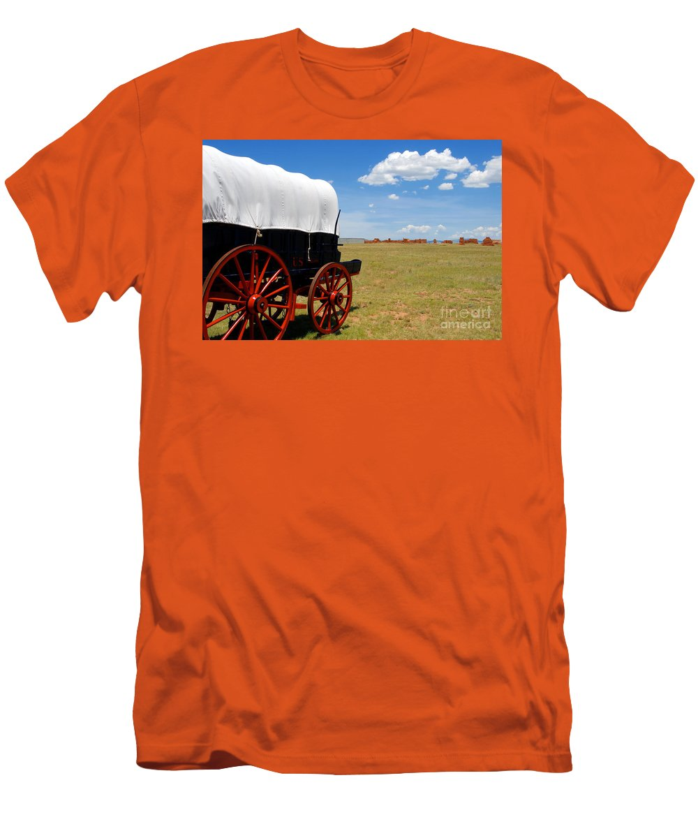 Fort Union New Mexico Men's T-Shirt (Athletic Fit) featuring the photograph Wagon At Old Fort Union by David Lee Thompson