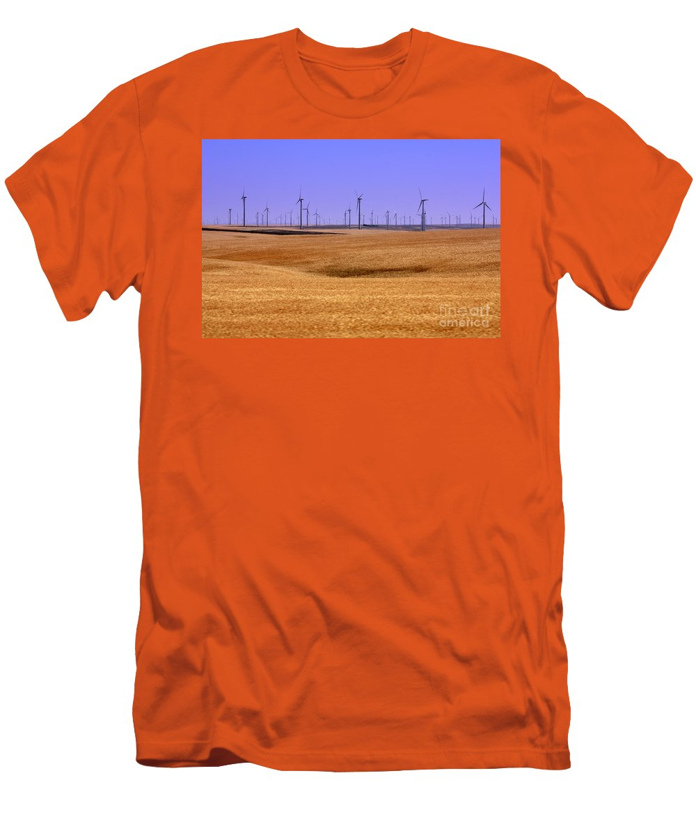 Wind Turbines Men's T-Shirt (Athletic Fit) featuring the photograph Wheat Fields And Wind Turbines by Carol Groenen