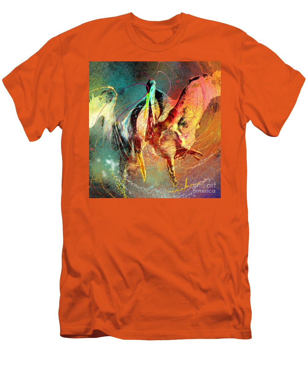 Miki Men's T-Shirt (Athletic Fit) featuring the painting Whirled In Digital Rainbow by Miki De Goodaboom