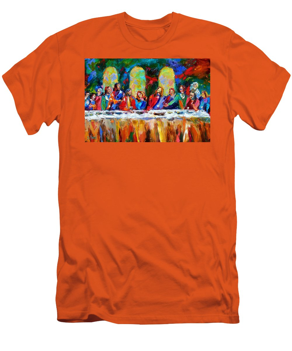 Last Supper Men's T-Shirt (Athletic Fit) featuring the painting Who Among Us by Debra Hurd