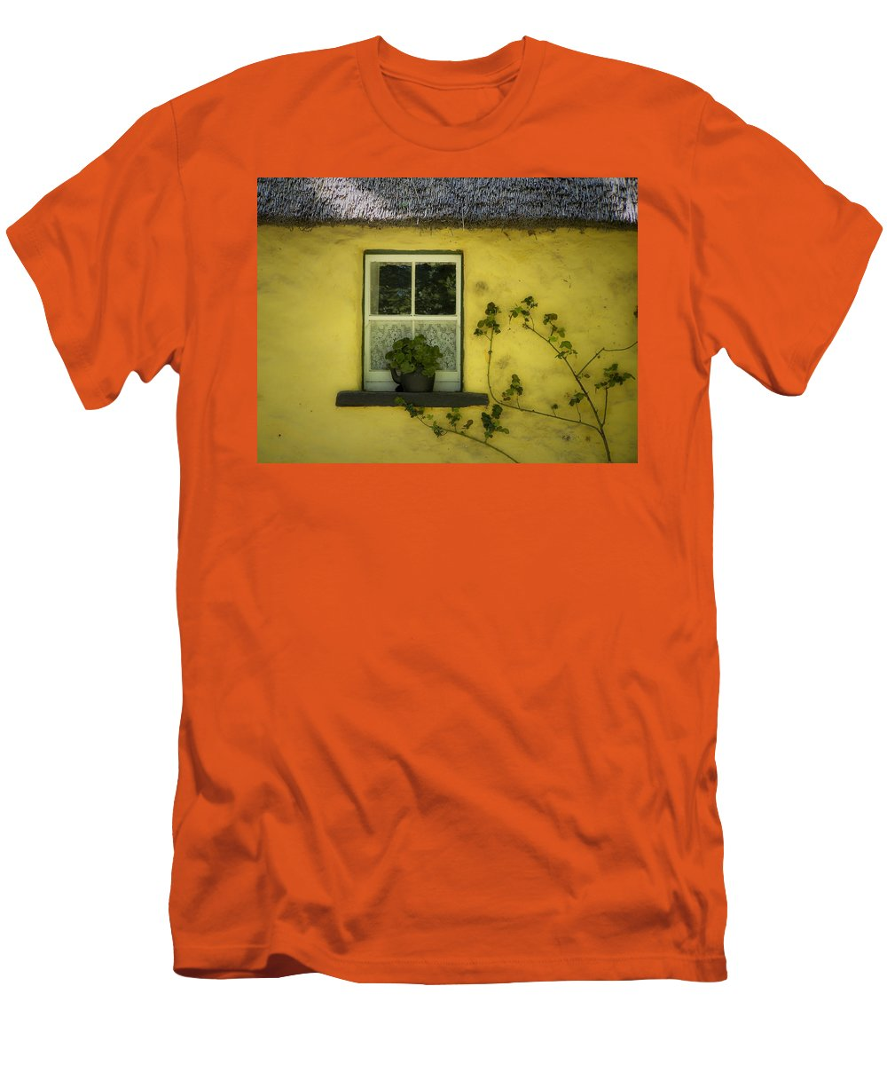 Irish Men's T-Shirt (Athletic Fit) featuring the photograph Yellow House County Clare Ireland by Teresa Mucha