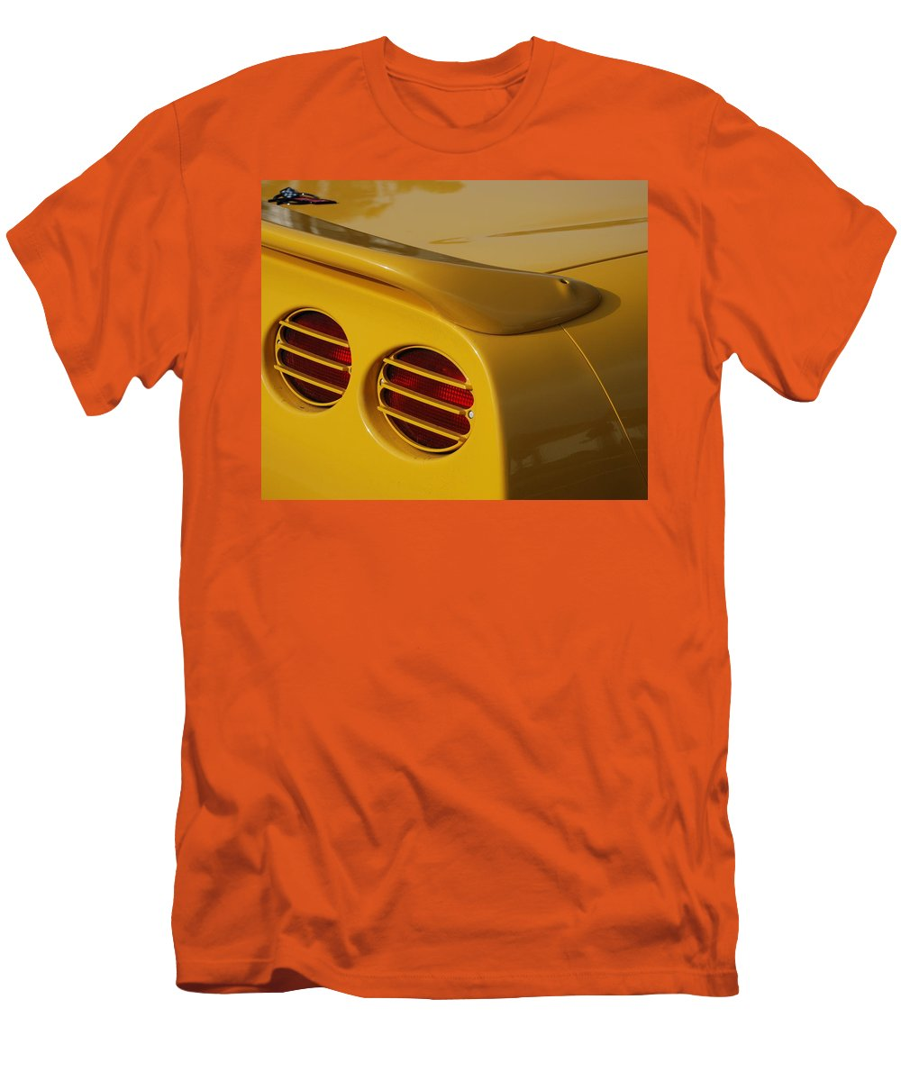 Corvette Men's T-Shirt (Athletic Fit) featuring the photograph Yellow Vette Lights by Rob Hans