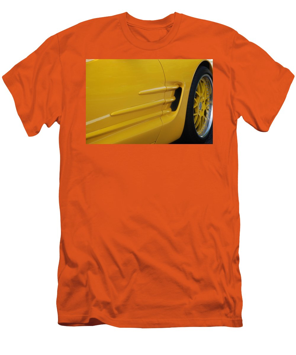 Corvette Men's T-Shirt (Athletic Fit) featuring the photograph Yellow Vette by Rob Hans