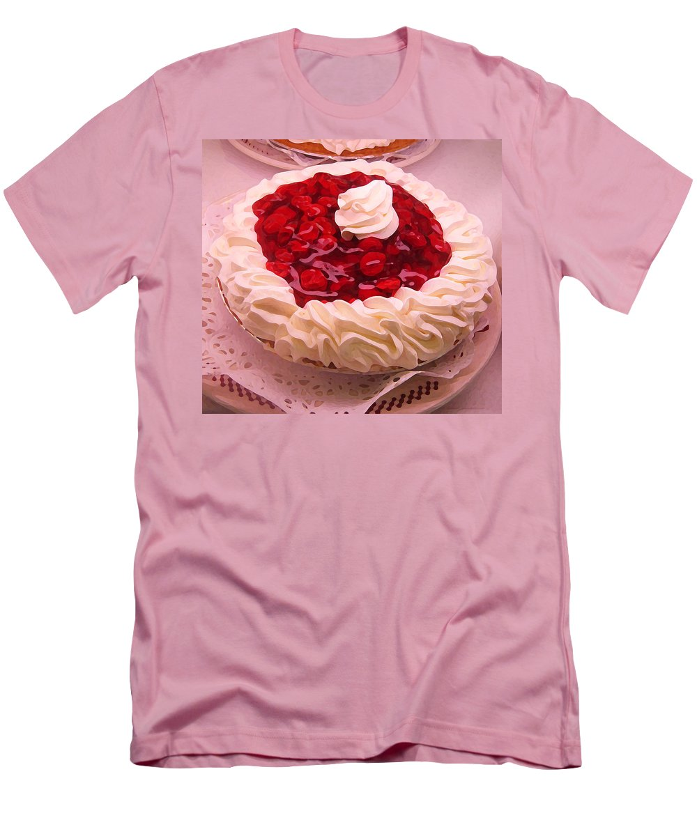 Still Life Men's T-Shirt (Athletic Fit) featuring the painting Cherry Pie With Whip Cream by Amy Vangsgard