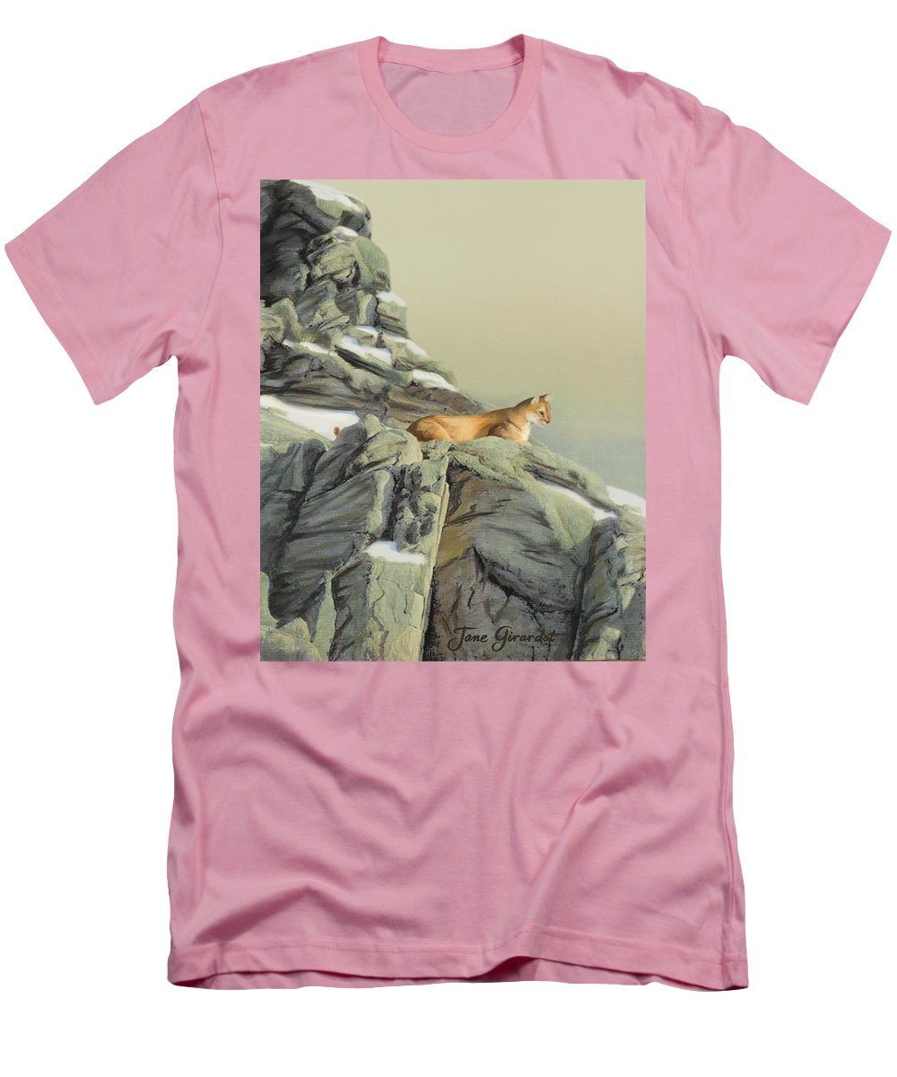 Cougar Men's T-Shirt (Athletic Fit) featuring the painting Cougar Perch by Jane Girardot