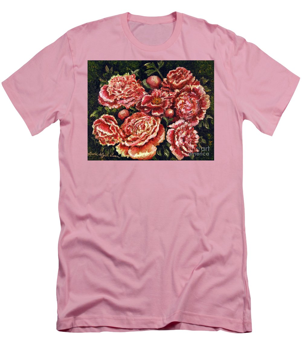 Pink Men's T-Shirt (Athletic Fit) featuring the painting Grandma Lights Peonies by Linda Simon