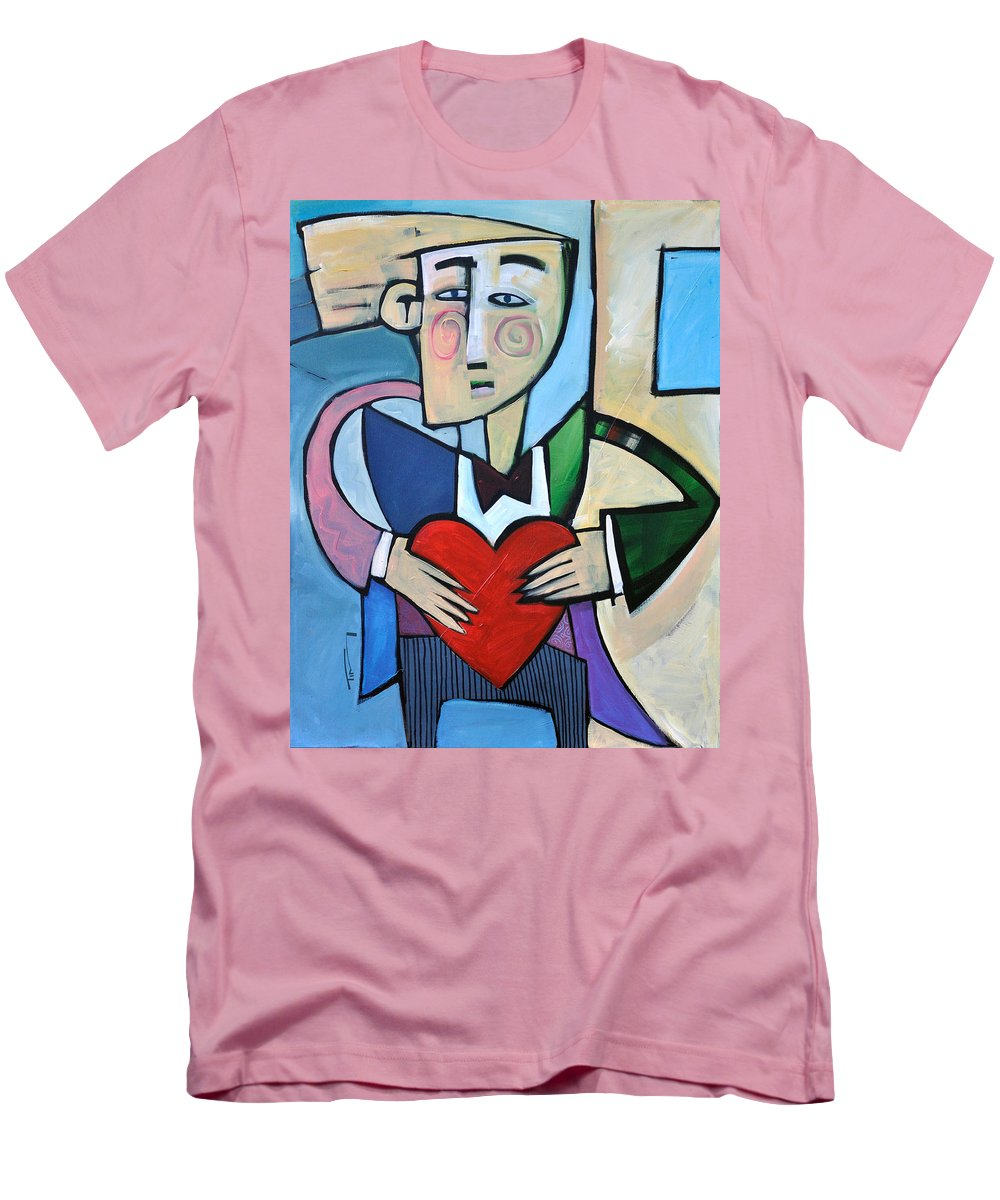 Heart Men's T-Shirt (Athletic Fit) featuring the painting Joseph Came A Courtin by Tim Nyberg