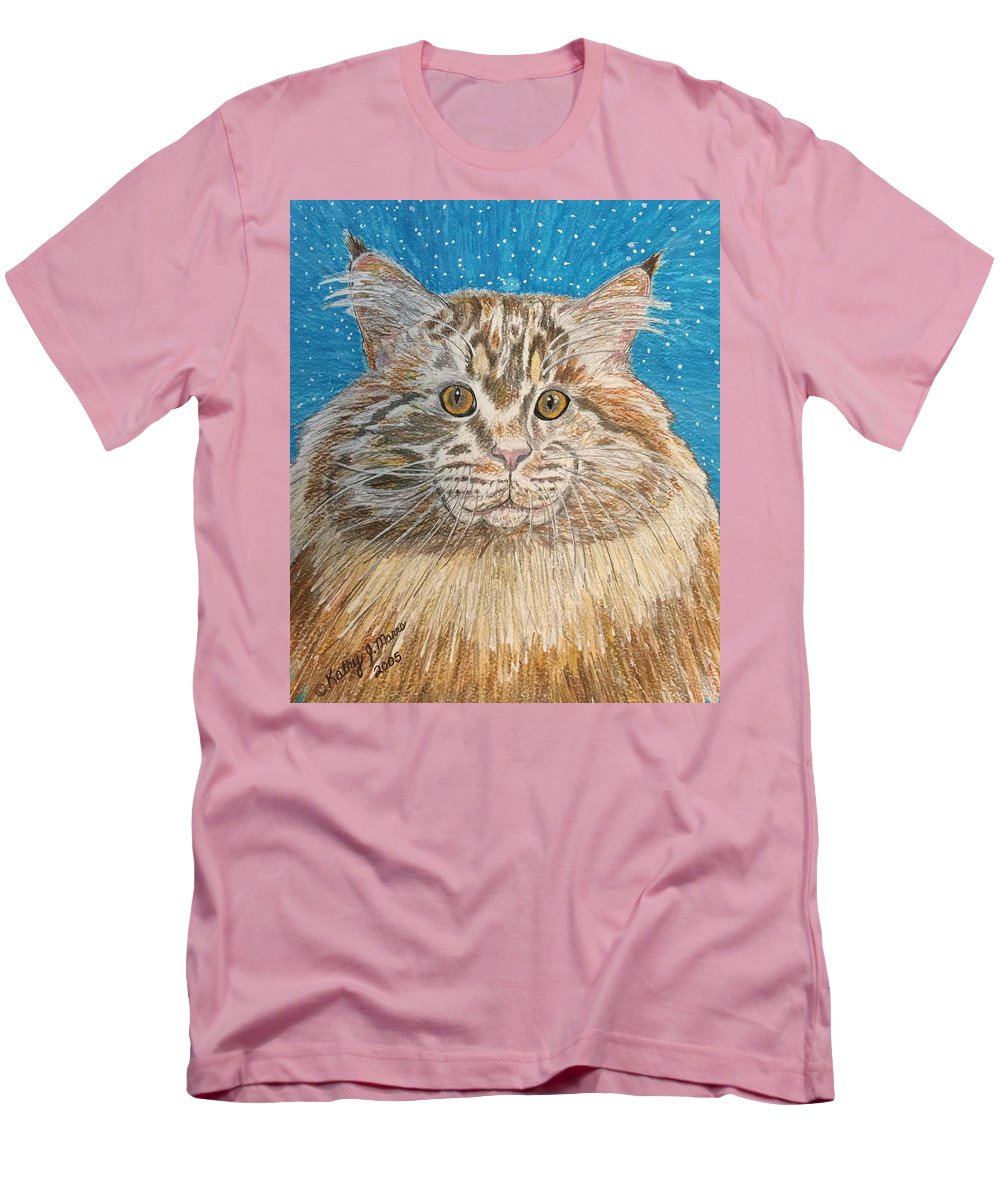 Maine Men's T-Shirt (Athletic Fit) featuring the painting Maine Coon Cat by Kathy Marrs Chandler