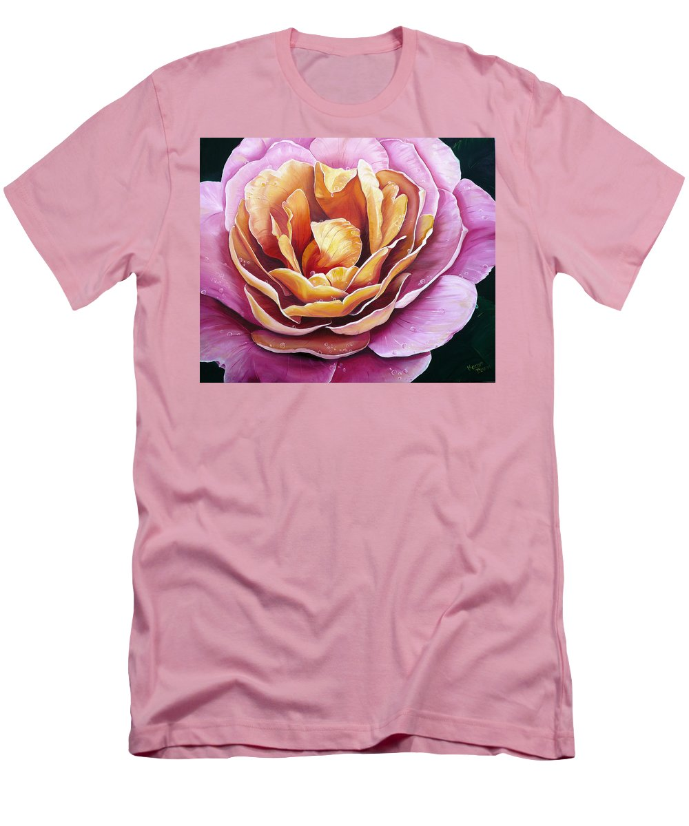 Rose Painting Pink Yellow Floral Painting Flower Bloom Botanical Painting Botanical Painting Men's T-Shirt (Athletic Fit) featuring the painting Rosy Dew by Karin Dawn Kelshall- Best