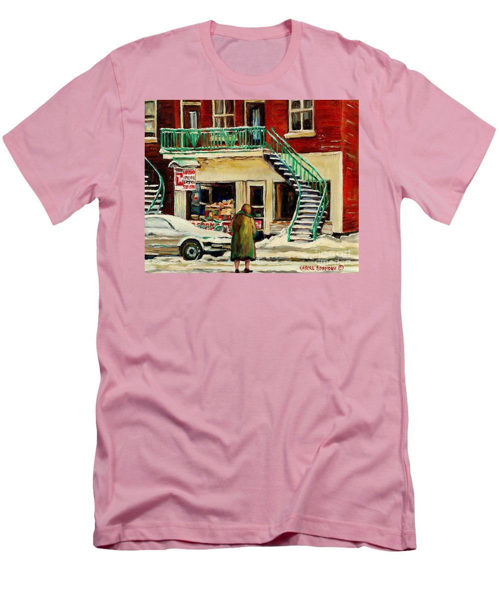 Montreal Men's T-Shirt (Athletic Fit) featuring the painting Snowing At The Five And Dime by Carole Spandau