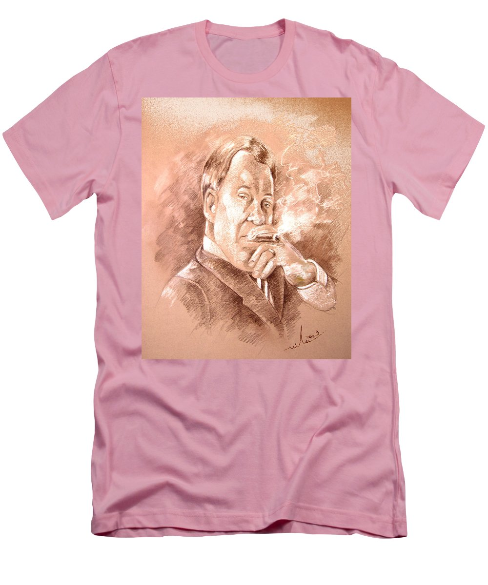 Portrait William Shatner Men's T-Shirt (Athletic Fit) featuring the painting William Shatner As Denny Crane In Boston Legal by Miki De Goodaboom