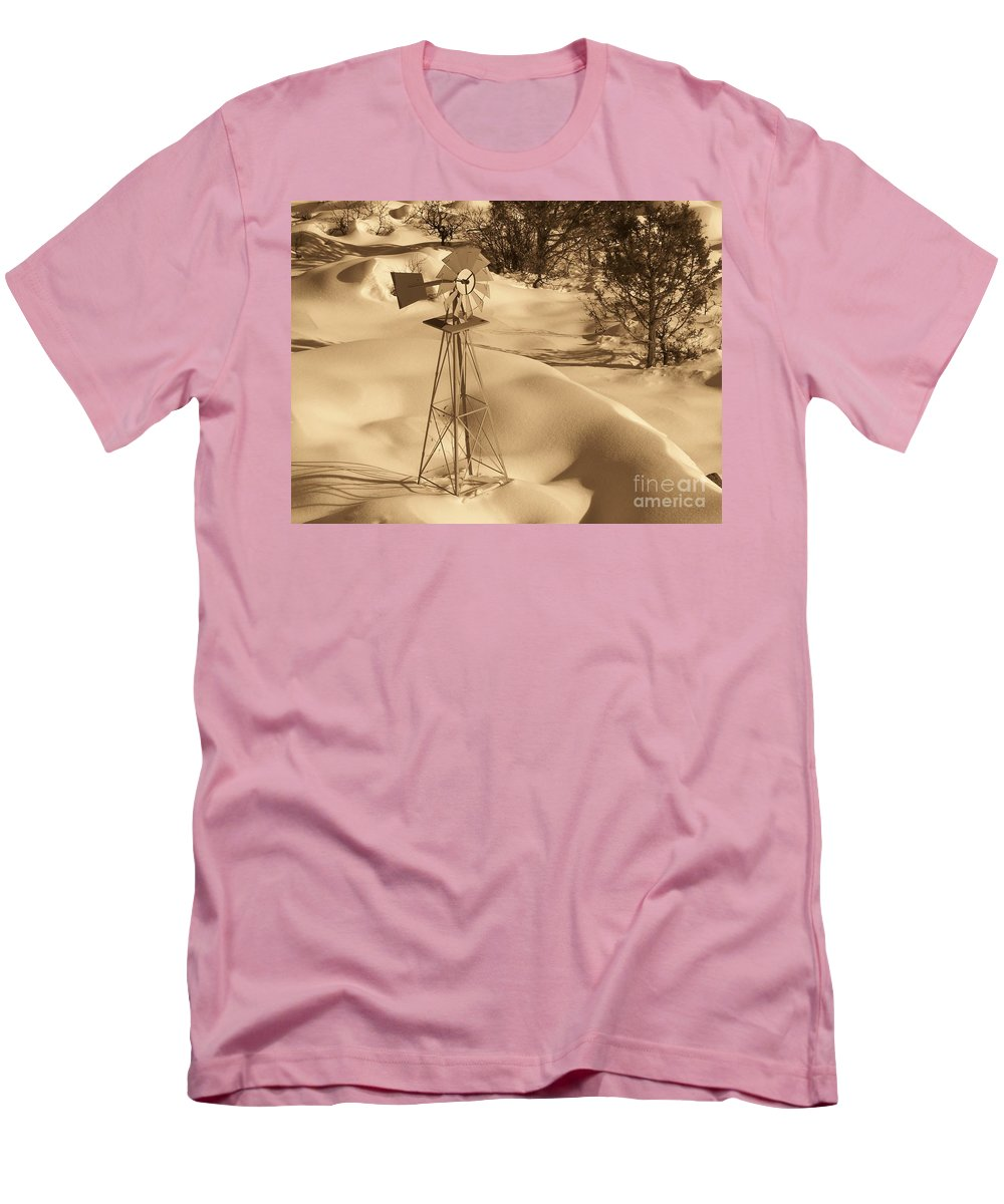 Wind Mill Men's T-Shirt (Athletic Fit) featuring the photograph Wind Mill by Brandi Maher
