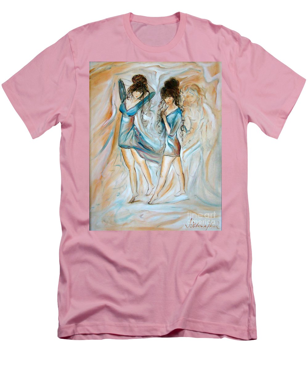 Contemporary Art Men's T-Shirt (Athletic Fit) featuring the painting Wondering by Silvana Abel