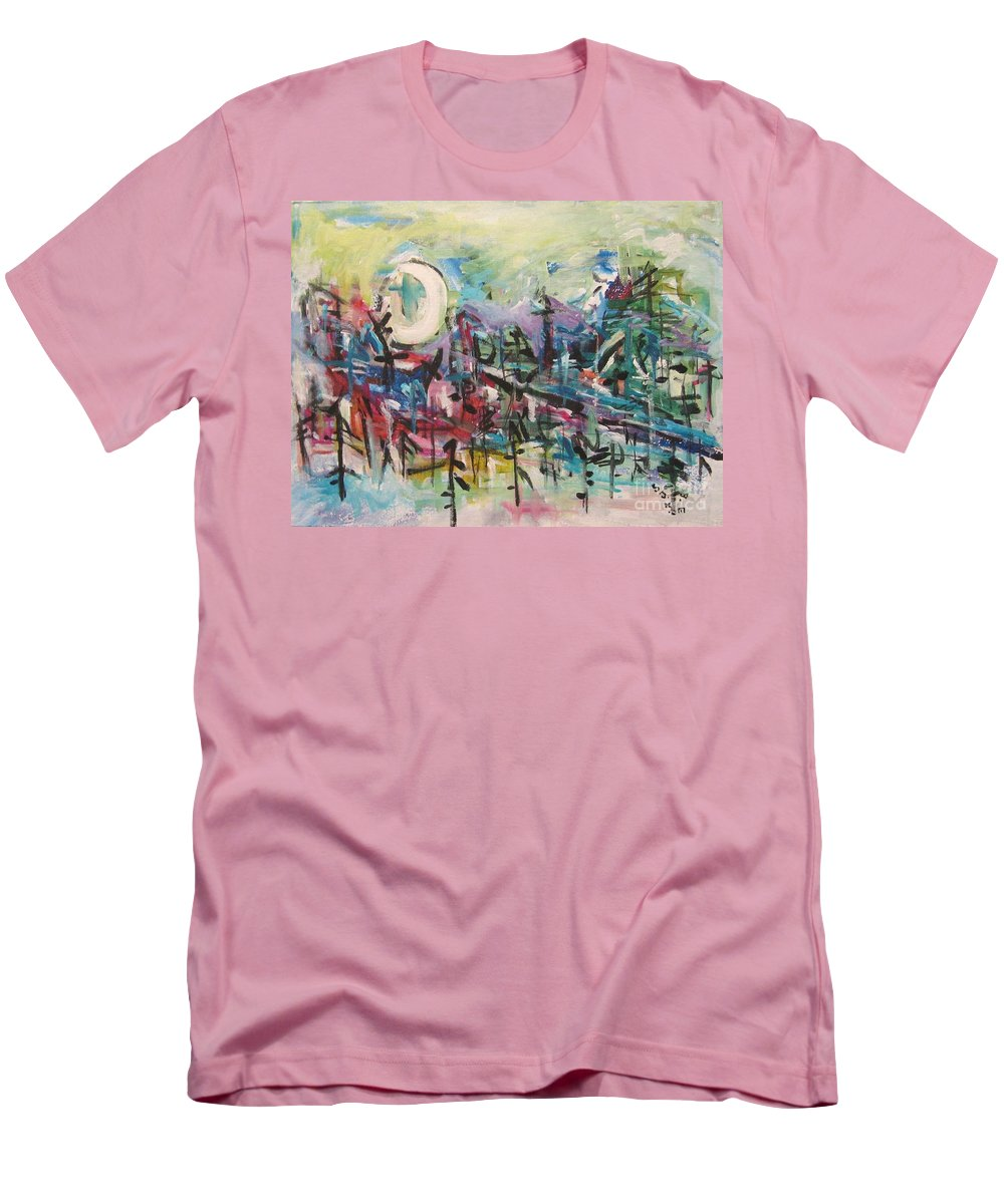 Abstract Paintings Men's T-Shirt (Athletic Fit) featuring the painting Bummer Flat2 by Seon-Jeong Kim