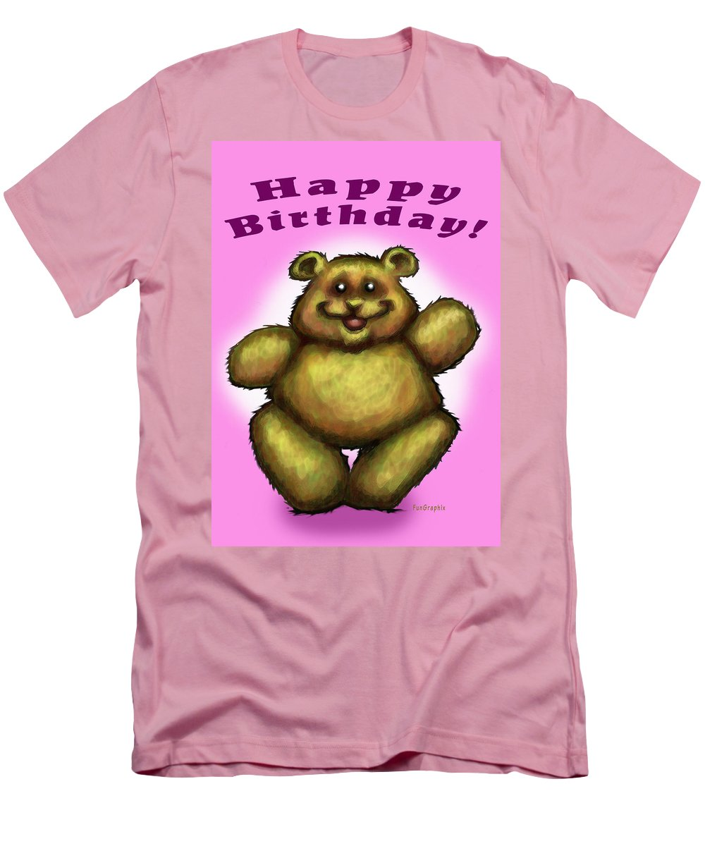 Pink Men's T-Shirt (Athletic Fit) featuring the greeting card Happy Birthday Bear by Kevin Middleton