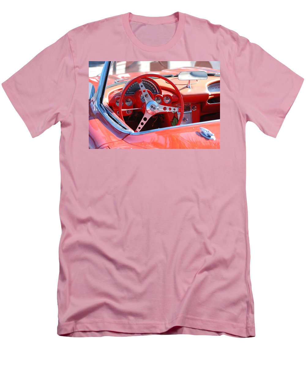 Corvette Men's T-Shirt (Athletic Fit) featuring the photograph Little Red Corvette by Rob Hans