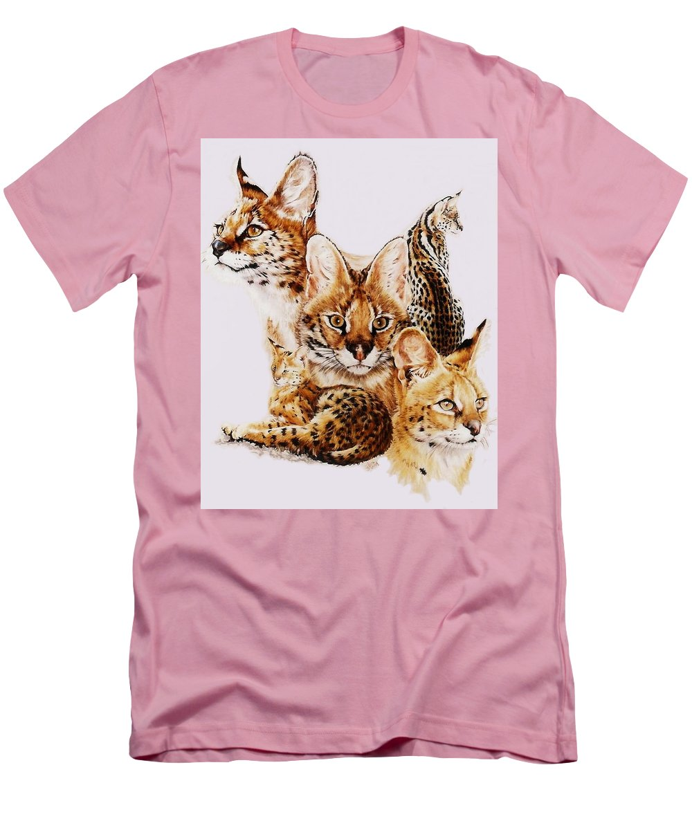 Serval Men's T-Shirt (Athletic Fit) featuring the drawing Adroit by Barbara Keith