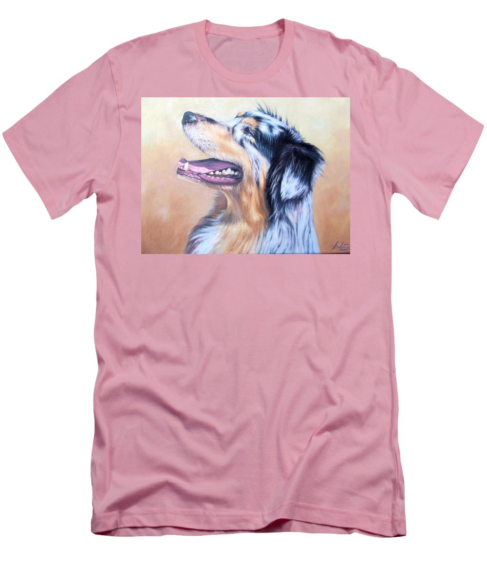 Dog Men's T-Shirt (Athletic Fit) featuring the painting Australian Shepherd Dog by Nicole Zeug