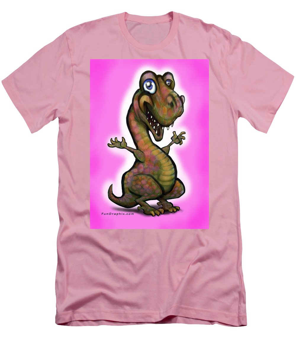 Baby Men's T-Shirt (Athletic Fit) featuring the painting Baby T-rex Pink by Kevin Middleton