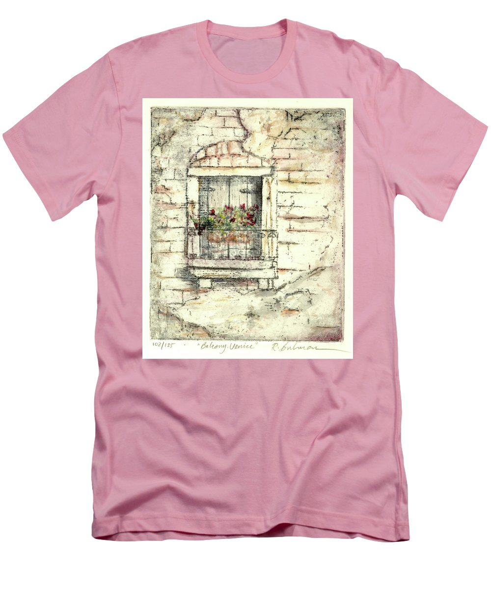 Venice Men's T-Shirt (Athletic Fit) featuring the painting Balcony Venice by Richard Bulman