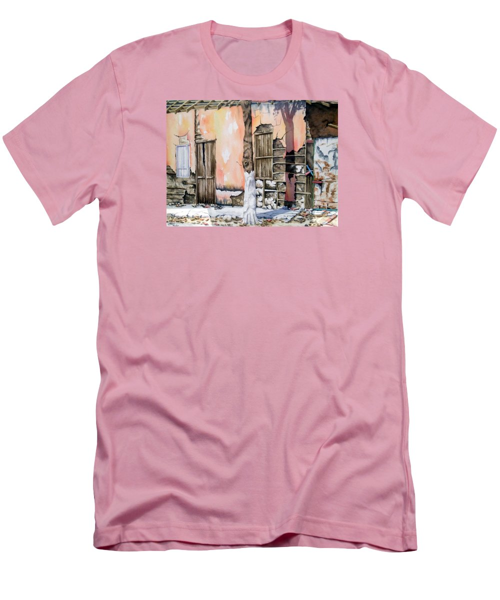 Lanscape Men's T-Shirt (Athletic Fit) featuring the painting Bareque II by Tatiana Escobar