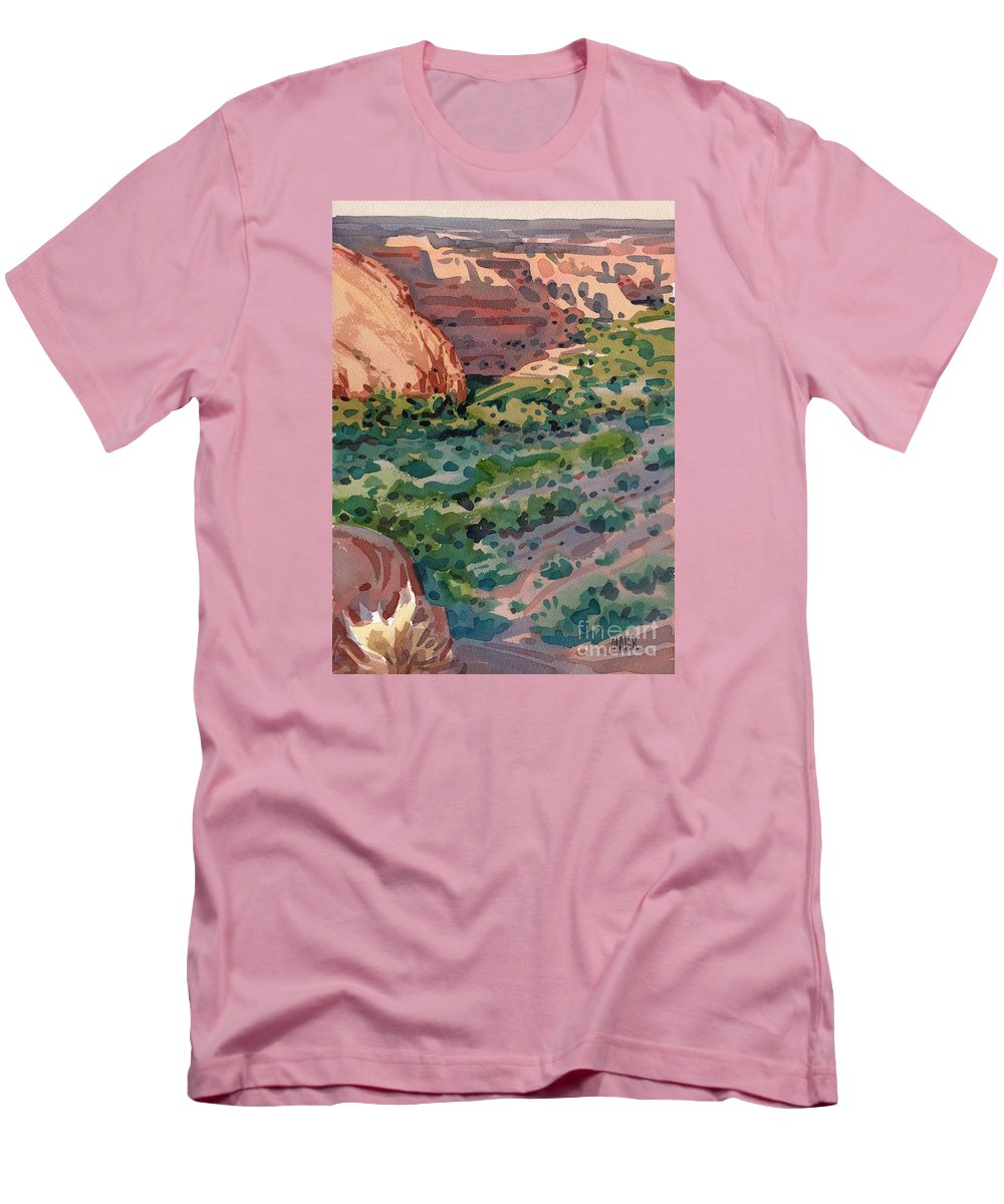 Canyon De Chelly Men's T-Shirt (Athletic Fit) featuring the painting Canyon Shadows by Donald Maier