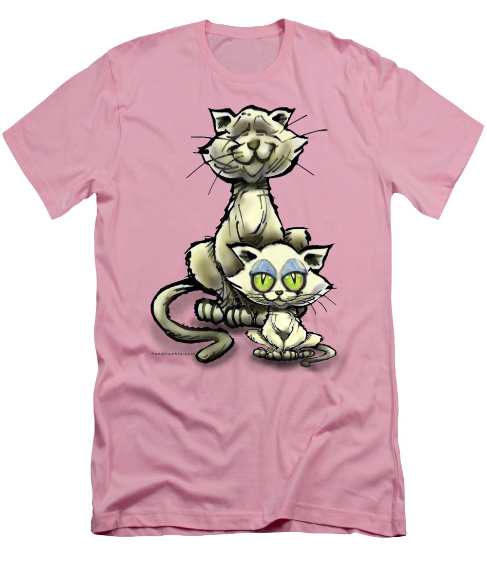 Cat Men's T-Shirt (Athletic Fit) featuring the digital art Cat N Kitten by Kevin Middleton