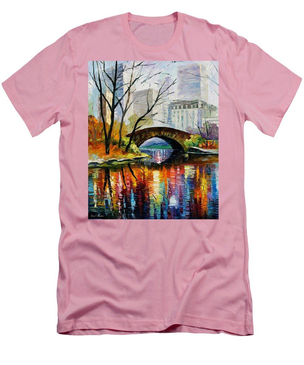 Landscape Men's T-Shirt (Athletic Fit) featuring the painting Central Park by Leonid Afremov
