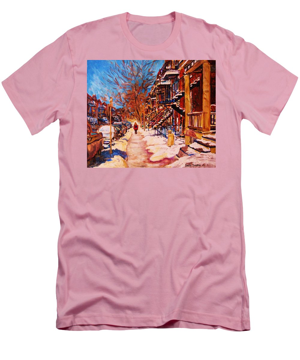 Children Men's T-Shirt (Athletic Fit) featuring the painting Girl In The Red Jacket by Carole Spandau