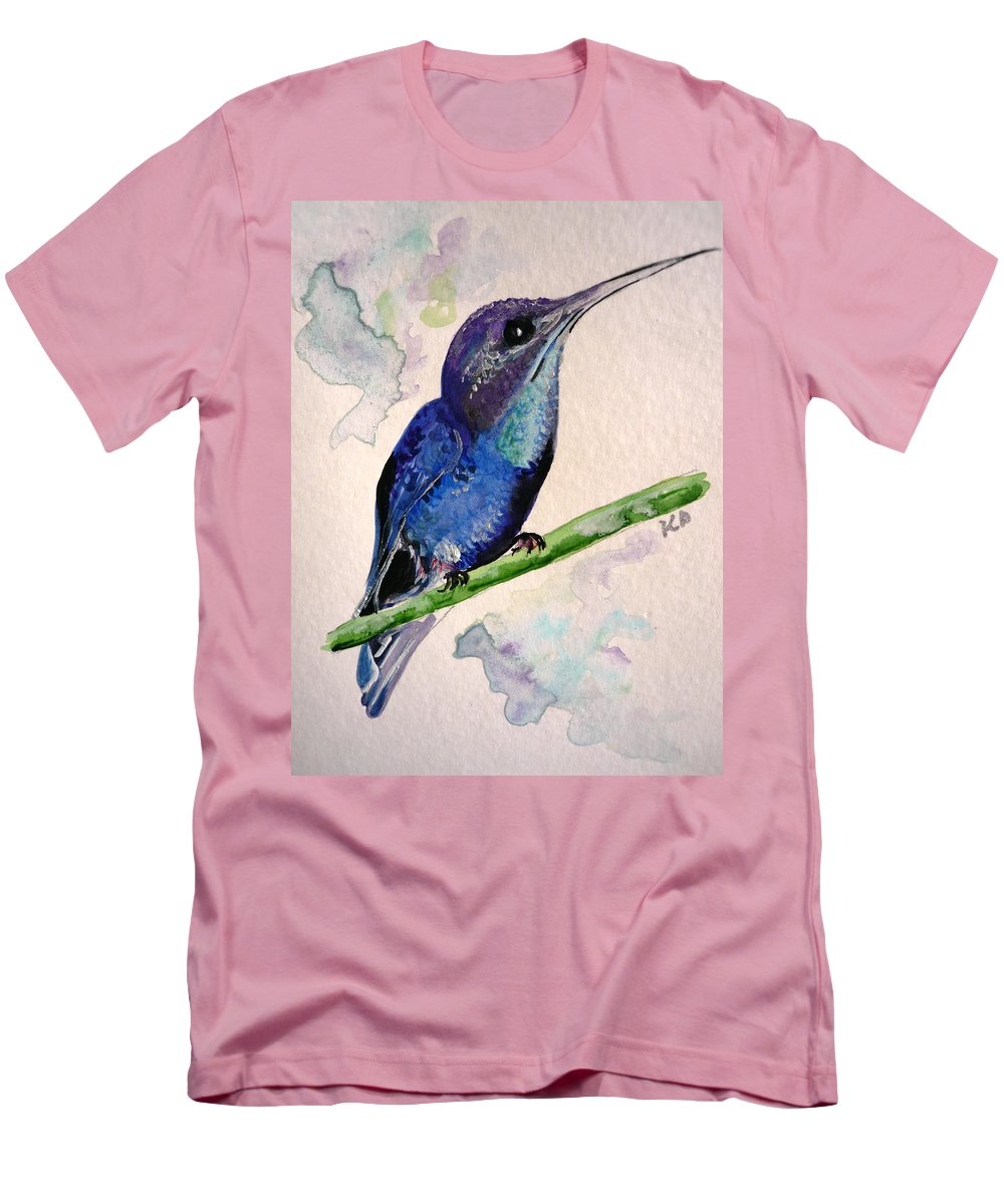Hummingbird Painting Bird Painting Tropical Caribbean Painting Watercolor Painting Men's T-Shirt (Athletic Fit) featuring the painting hHUMMINGBIRD 2  by Karin Dawn Kelshall- Best