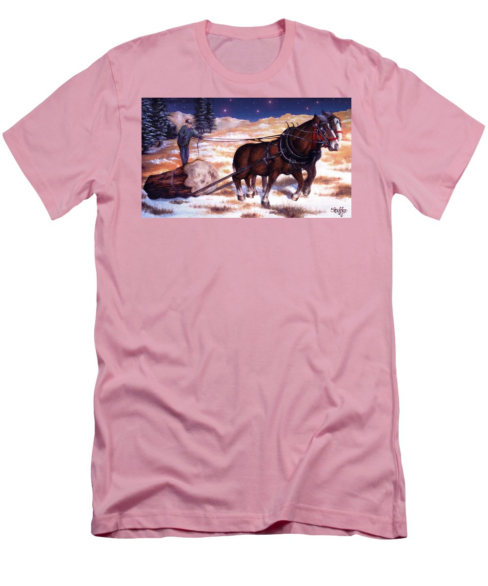 Horse Men's T-Shirt (Athletic Fit) featuring the painting Horses Pulling Log by Curtiss Shaffer
