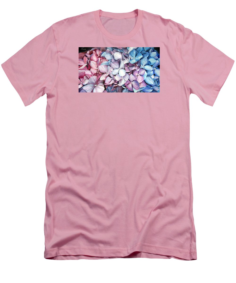 Flowers Nature Blue Violet Macro Men's T-Shirt (Athletic Fit) featuring the painting Hortensias by Natalia Tejera
