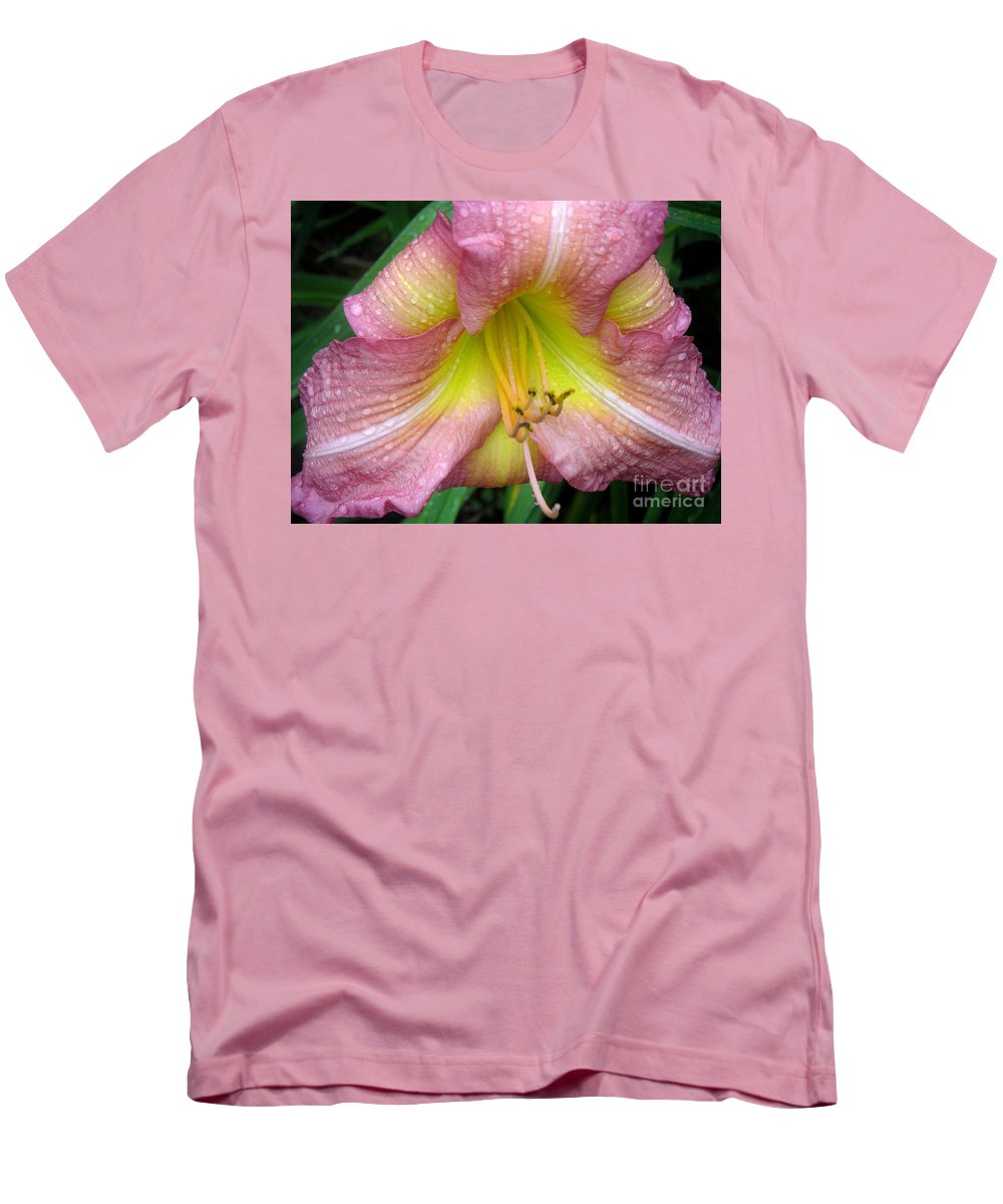 Nature Men's T-Shirt (Athletic Fit) featuring the photograph Jacqueline's Garden - Lily Glistening Thrice by Lucyna A M Green