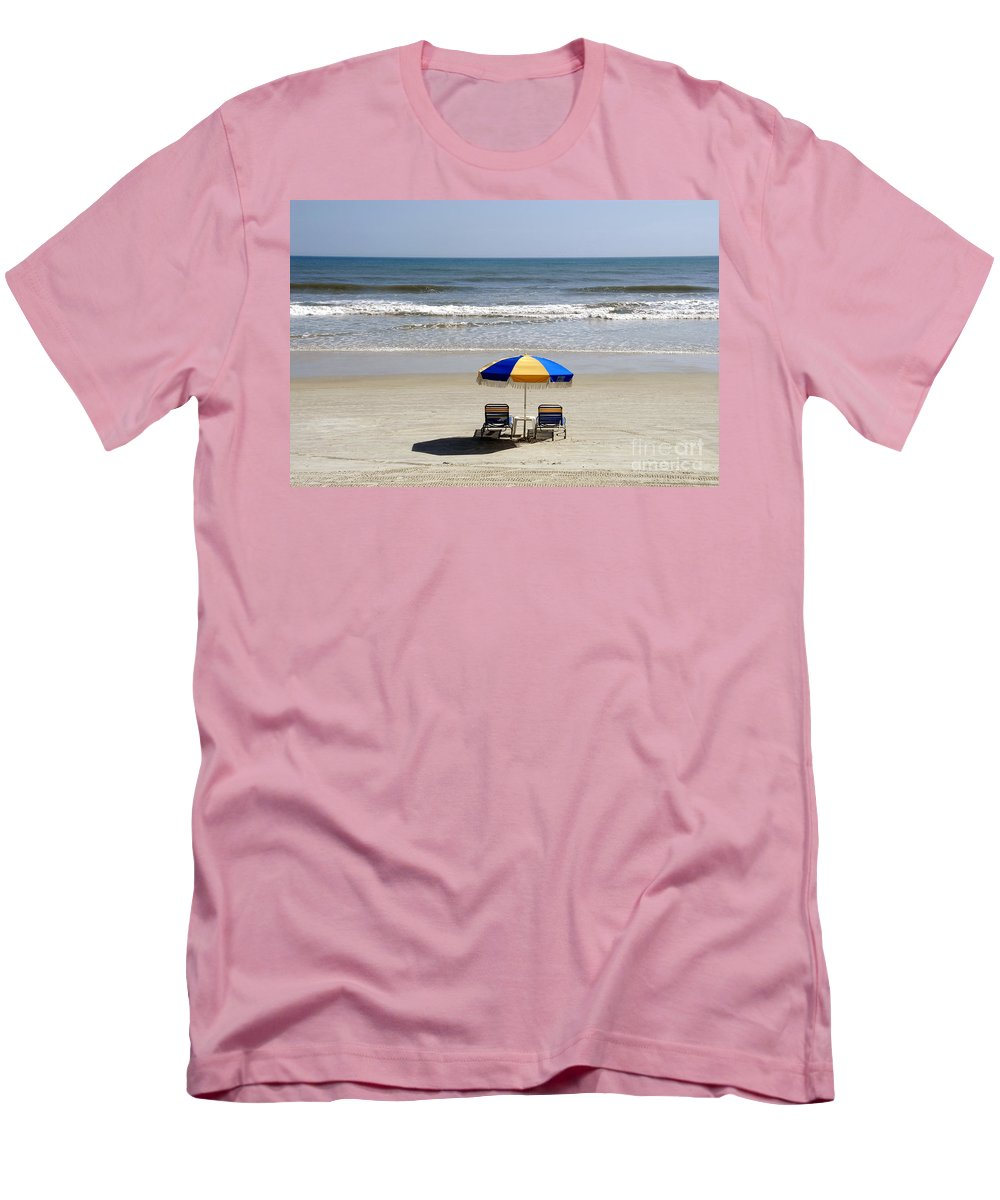 Beach Men's T-Shirt (Athletic Fit) featuring the photograph Just The Two Of Us by David Lee Thompson