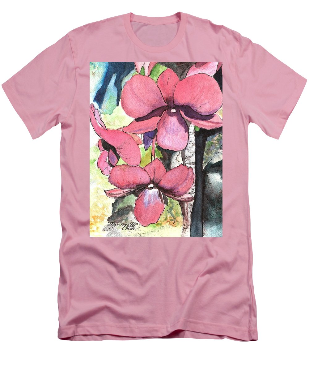 Orchid Men's T-Shirt (Athletic Fit) featuring the painting Kiahuna Orchids by Marionette Taboniar