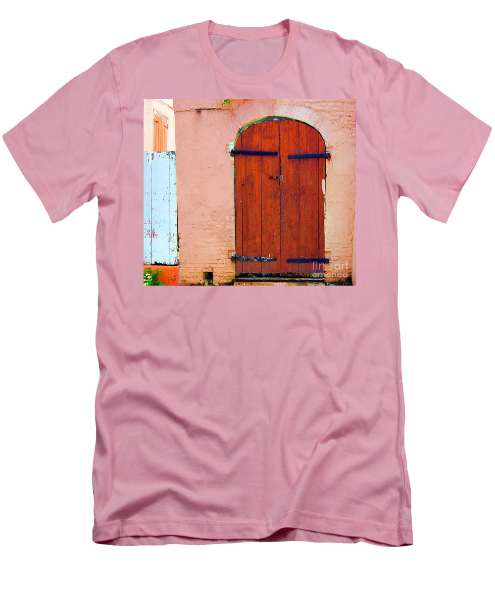 Door Men's T-Shirt (Athletic Fit) featuring the photograph Little Pink House by Debbi Granruth