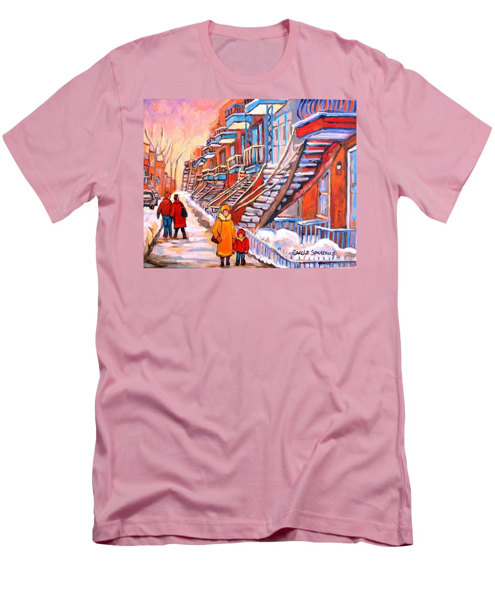 Montreal Men's T-Shirt (Athletic Fit) featuring the painting Montreal Winter Walk by Carole Spandau
