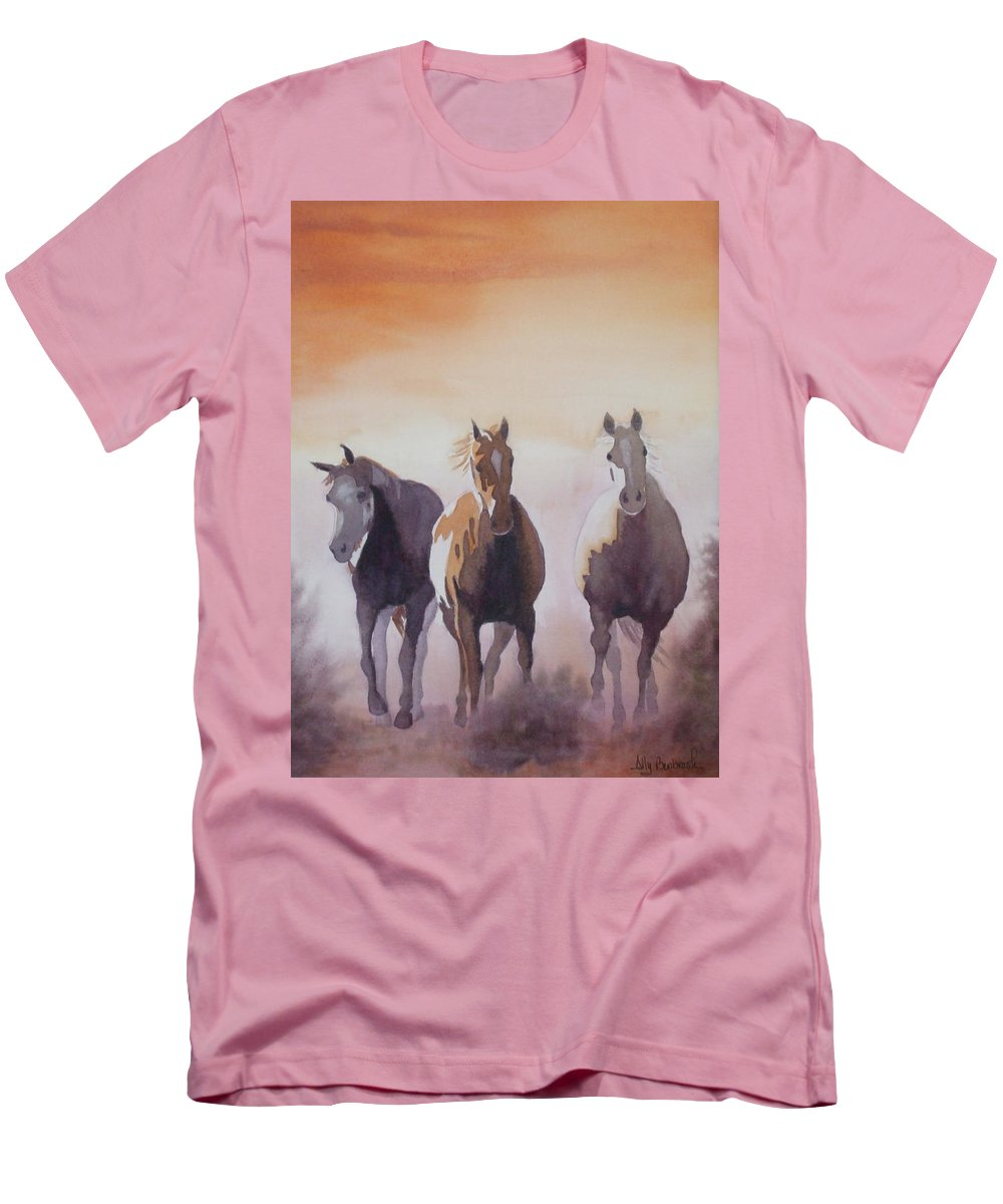 Horse Men's T-Shirt (Athletic Fit) featuring the painting Mustangs Out Of The Fire by Ally Benbrook