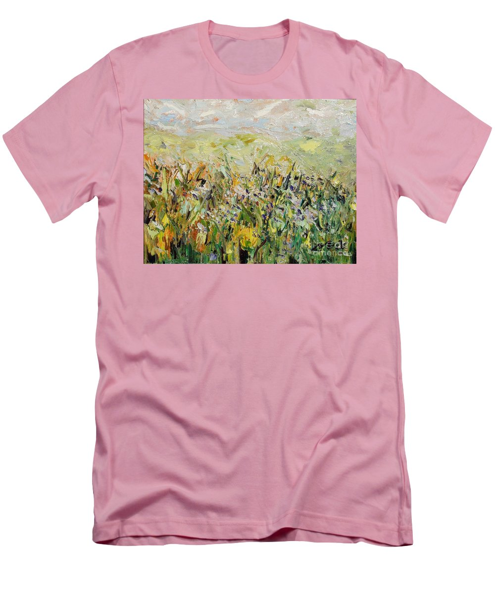 Field Paintings Men's T-Shirt (Athletic Fit) featuring the painting Nose Hill by Seon-Jeong Kim