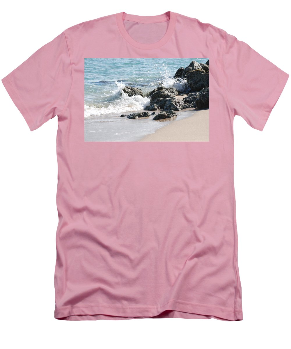 Ocean Men's T-Shirt (Athletic Fit) featuring the photograph Ocean Drive Rocks by Rob Hans