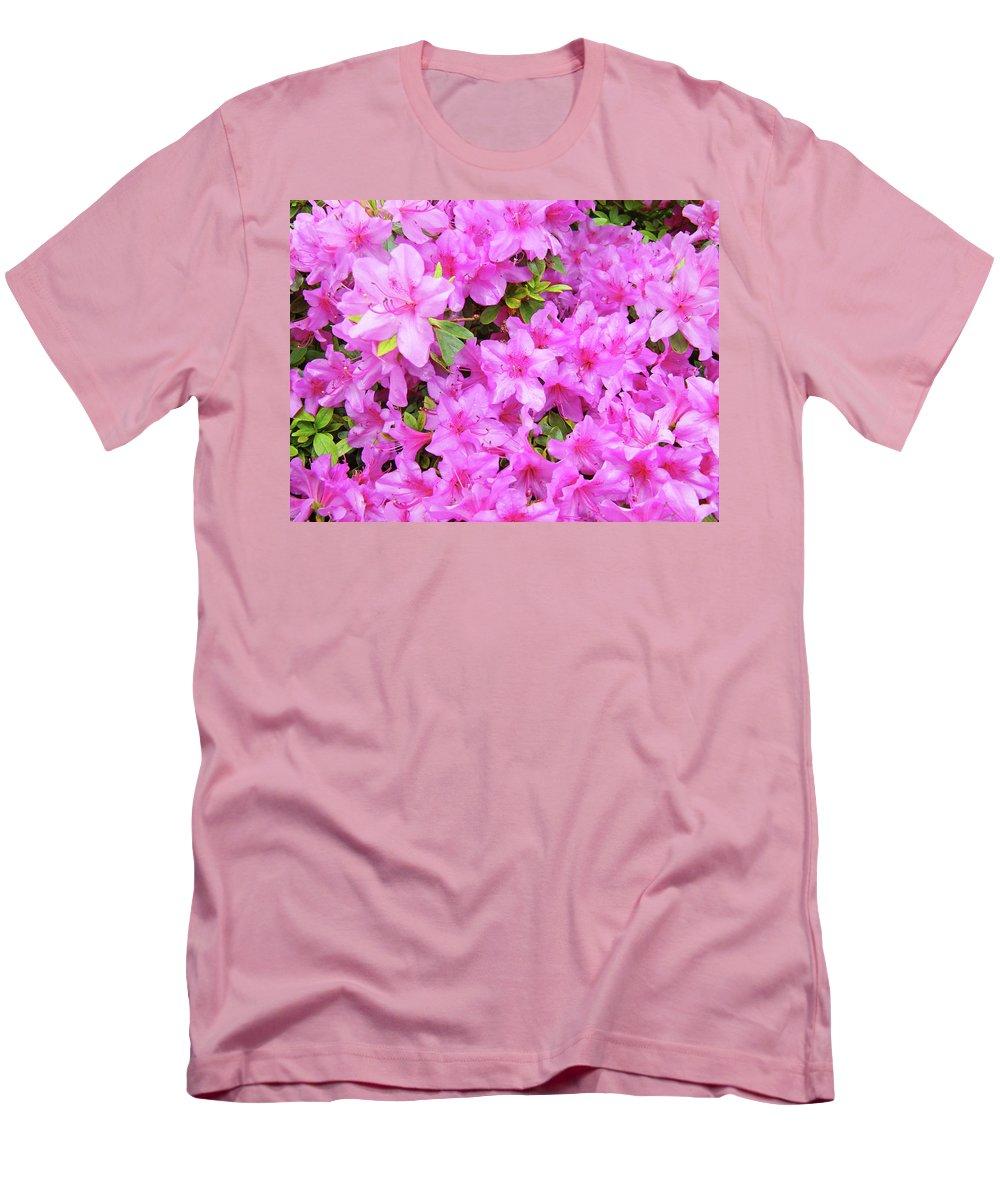 Office Men's T-Shirt (Athletic Fit) featuring the photograph Office Art Azaleas Flower Art Prints 1 Azalea Flowers Giclee Baslee Troutman by Baslee Troutman