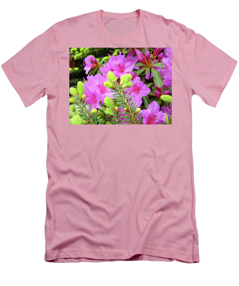 Office Men's T-Shirt (Athletic Fit) featuring the photograph Office Art Pine Conifer Pink Azalea Flowers 38 Azaleas Giclee Art Prints Baslee Troutman by Baslee Troutman