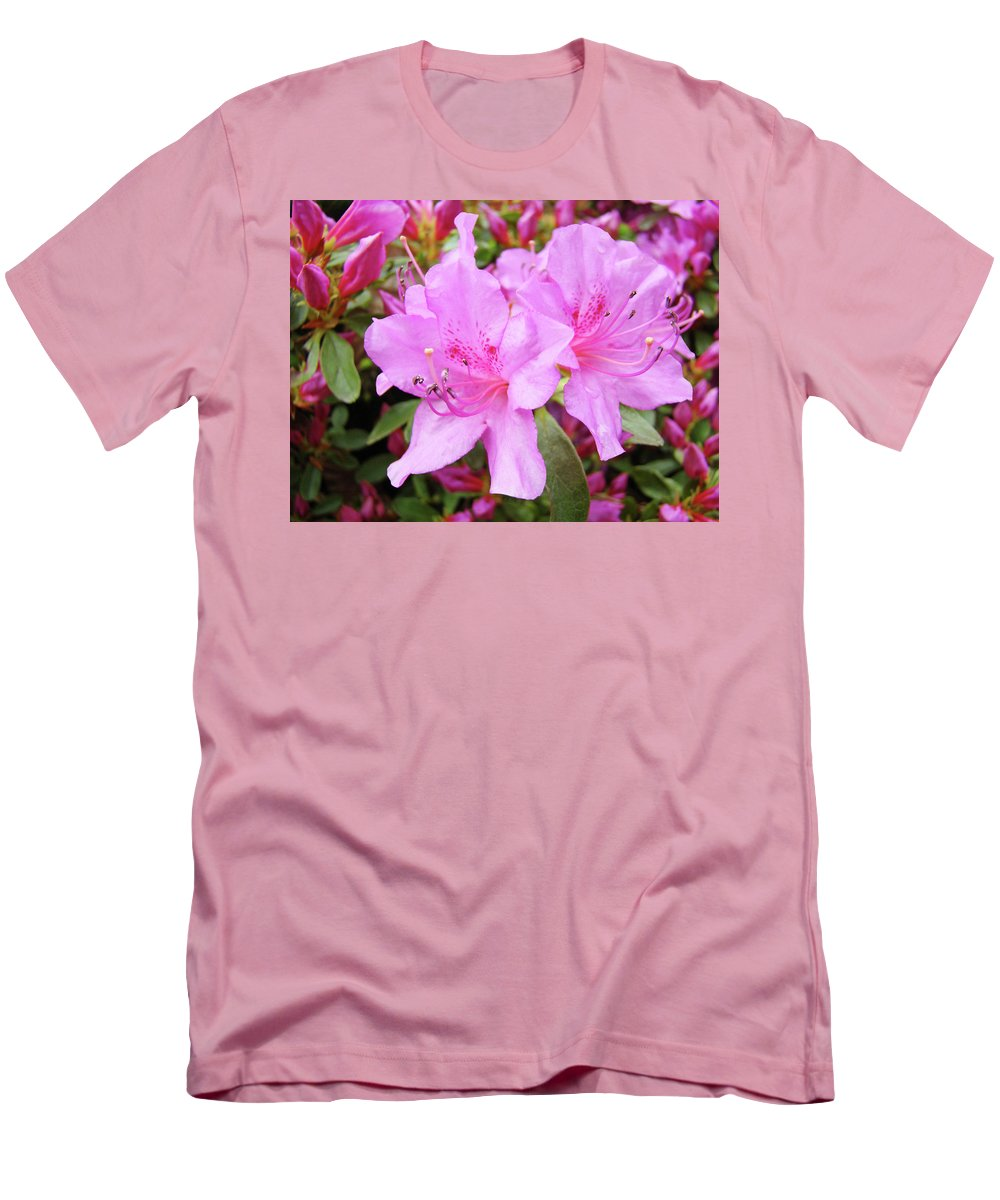 Flower Men's T-Shirt (Athletic Fit) featuring the photograph Office Art Pink Azalea Flower Garden 3 Giclee Art Prints Baslee Troutman by Baslee Troutman