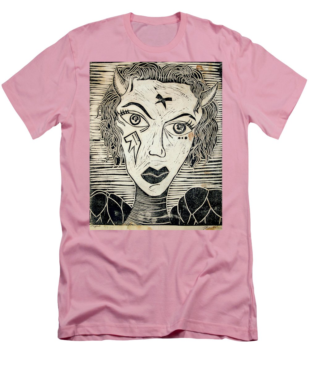 Block Print Men's T-Shirt (Athletic Fit) featuring the print Original Devil Block Print by Thomas Valentine