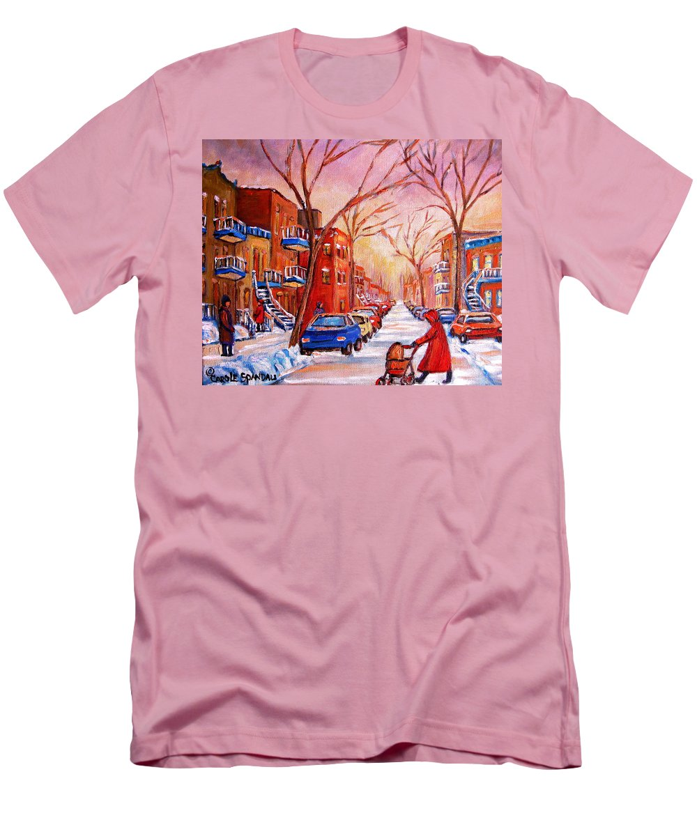 Montreal Men's T-Shirt (Athletic Fit) featuring the painting Out For A Walk With Mom by Carole Spandau