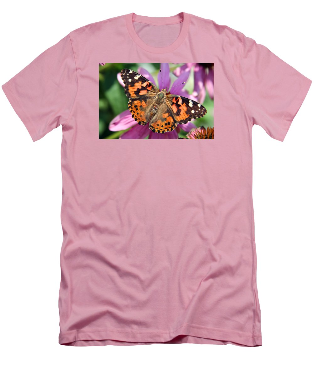 Painted Lady Men's T-Shirt (Athletic Fit) featuring the photograph Painted Lady Butterfly by Margie Wildblood