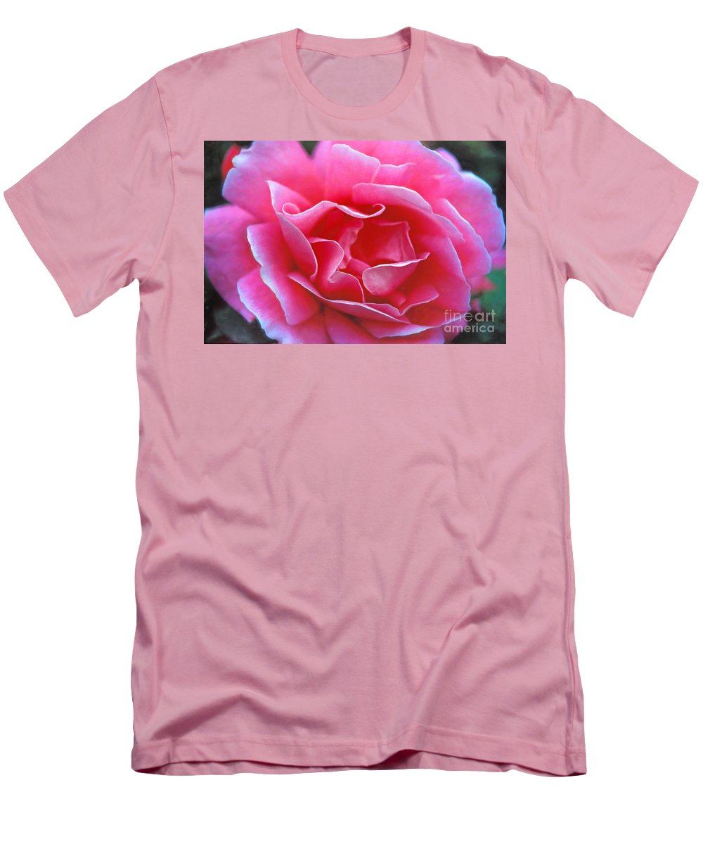 Peggy Lee Rose Men's T-Shirt (Athletic Fit) featuring the photograph Peggy Lee Rose Bridal Pink by David Zanzinger