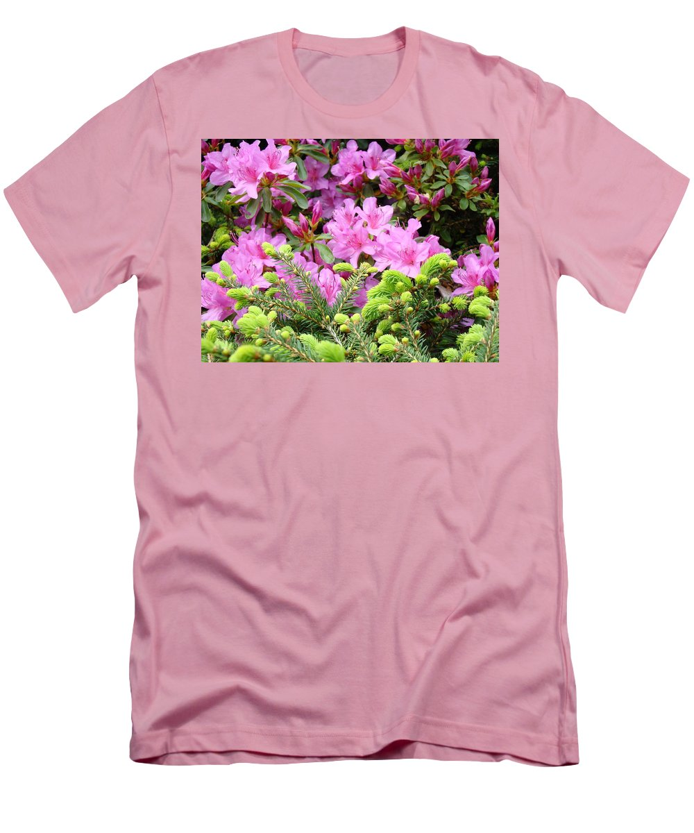 �azaleas Artwork� Men's T-Shirt (Athletic Fit) featuring the photograph Pine Conifer Pink Azaleas 30 Summer Azalea Flowers Giclee Art Prints Baslee Troutman by Baslee Troutman