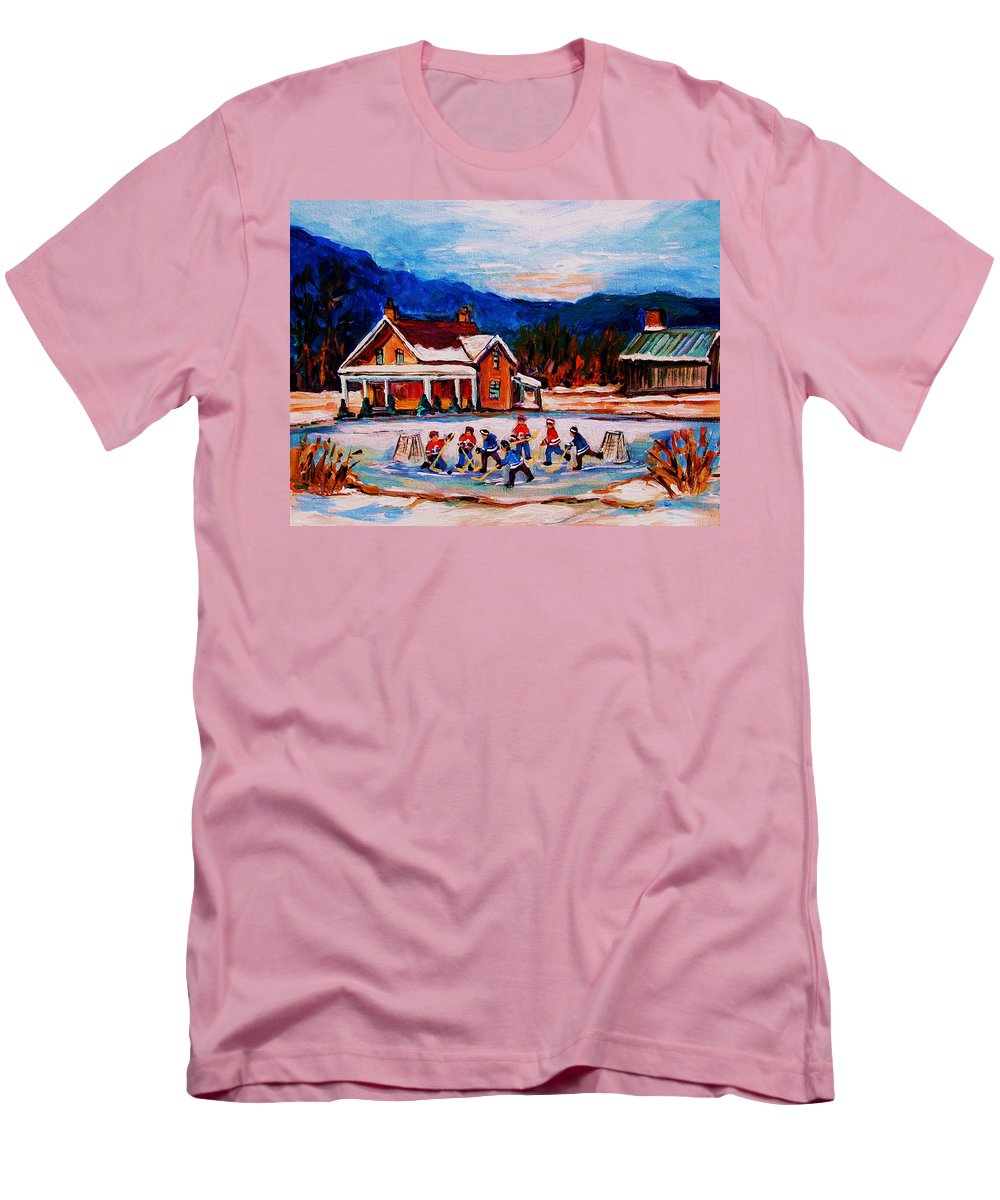 Hockey Men's T-Shirt (Athletic Fit) featuring the painting Pond Hockey by Carole Spandau